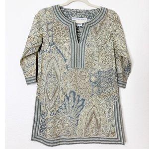 Gretchen Scott XS Taupe/Gray 100% Cotton Tunic Top